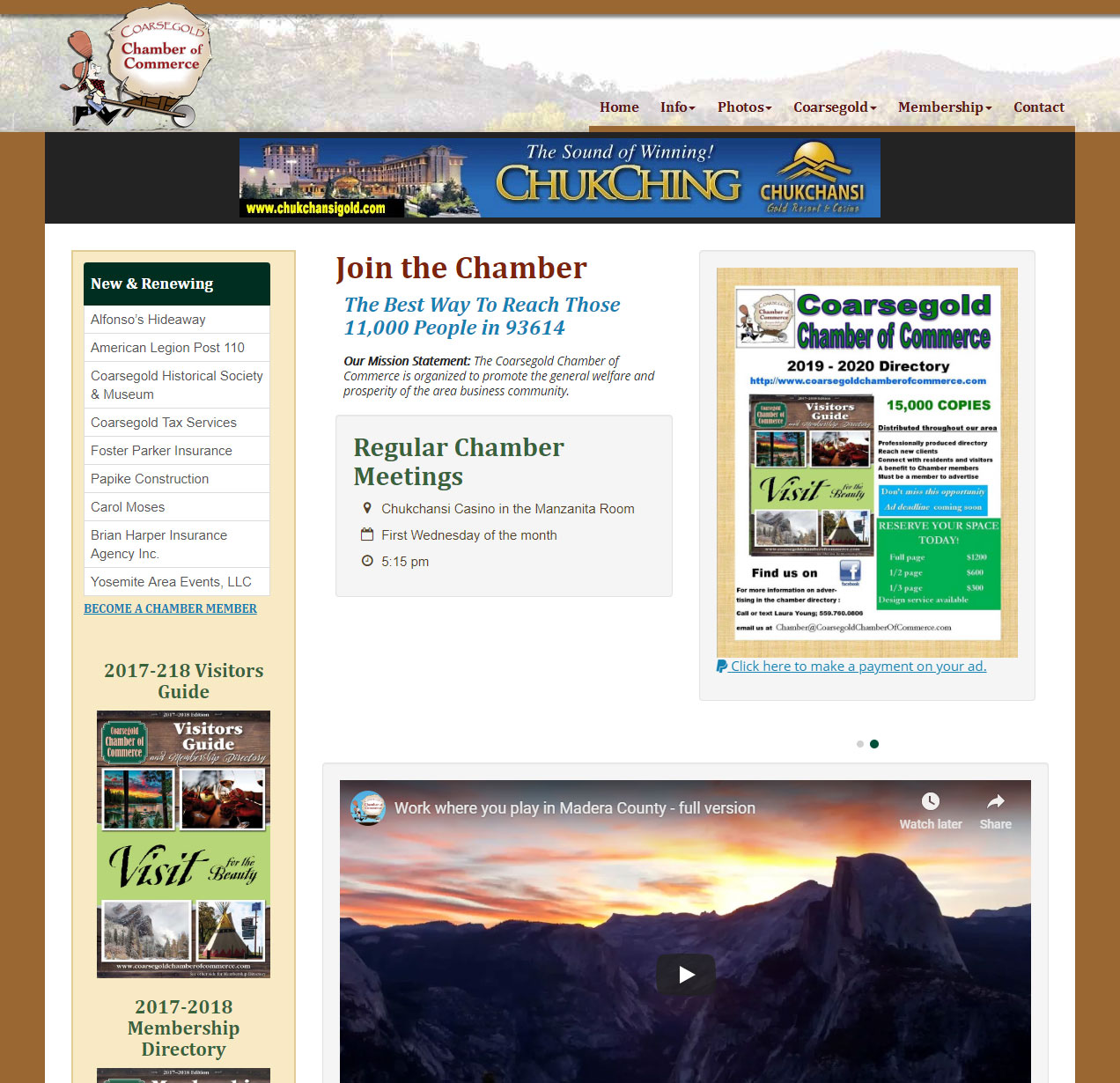 The Coarsegold Chamber of Commerce website