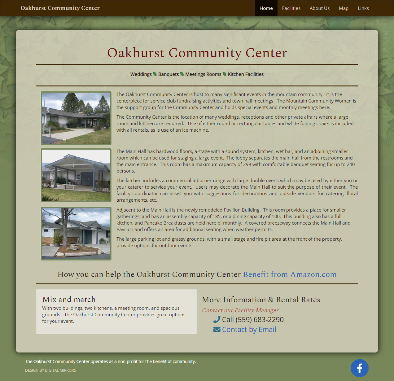The Oakhurst Community Center website