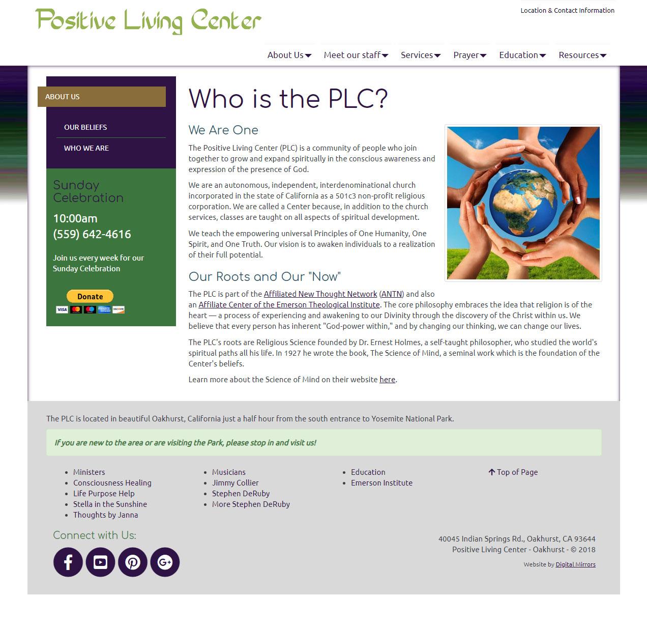 The Positive Living Center website